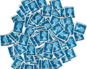 Dazzling cerulean blue used 6.5p pence GB UK postage stamps 1974. Sky sea color azure beryl cobalt indigo navy royal collector paper supply!