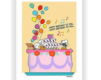 Cute Happy Birthday Card - Mice Sing Happy Birthday - 5x7 Greeting Card - B00RW1D7AU