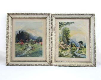 Vintage Cottage Framed Prints - 11x9 Mountain Scenes - Shabby chic, cottage, country - 1940s