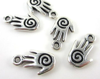 20 Silver Tierracast Small Spiral Hand Charms