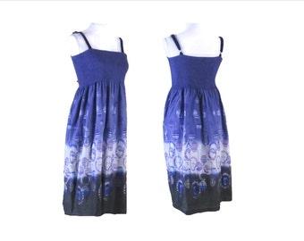 HALTER TOP Dress,  Floral Sun Dress, Summer work dress, womens clothes, vintage summer dress,  beach summer dress - 50% OFF ! !