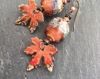 Oak Leaf Earrings, Enameled Copper Dangle Earrings, Handmade Lampwork, Fall Earrings, Leaf Earrings, Fall Fashion,