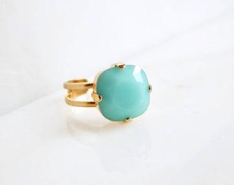 Mint green crystal cocktail Ring - cushion cut crystal Ring - mint ring - mint green jewelry - square crystal ring - Swarovski crystal