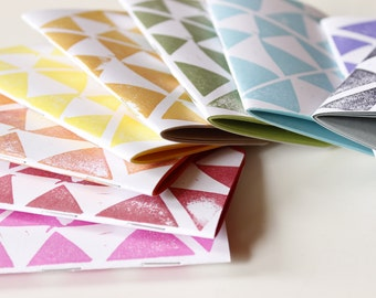 triangle print mini notebook in your choice of color