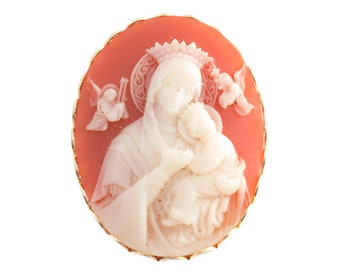 Virgin Mary and Jesus Cameo Brooch