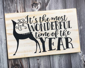 Ready to Ship | It's the most wonderful time of the year sign | Christmas sign | holiday sign | Christmas decor | wood sign | Style# HOL94
