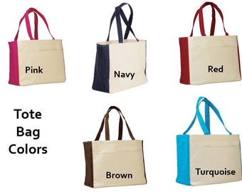 PERSONALIZED Large Canvas Beach Tote Bag with Embroidery or Vinyl