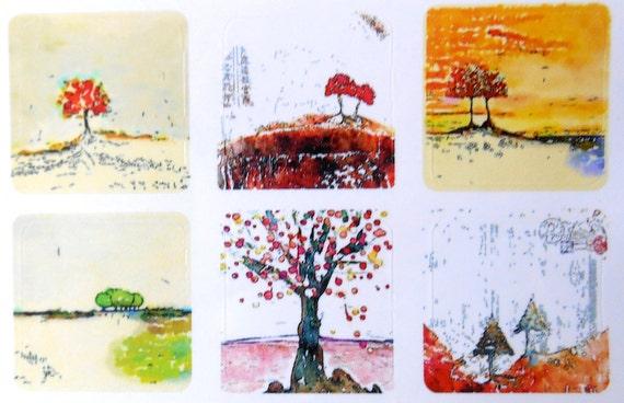 Mini Trees 2 - Fine Art Stickers