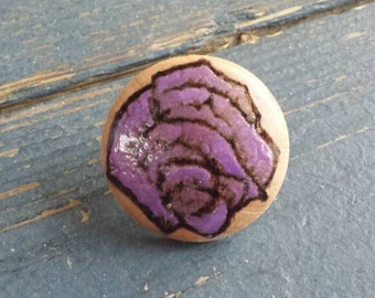 Floral Purple Rose Wood Dome Ring Floral Ring Wood Ring
