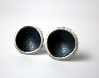 silver stud earrings modern organic tidal pool sustainable
