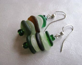 Stacked Sea Glass Earrings , Beach Glass Earrings , Assorted Sea Glass , Beach Glass Jewelry- Pure Sea Glass from Prince Edward Island Gifts