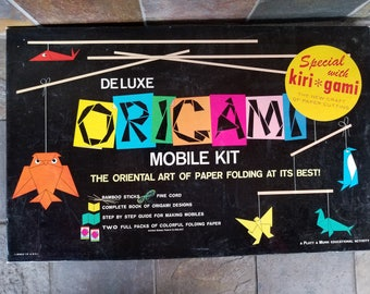 1961 Rare Deluxe Origami Mobile Kit and Kirigami Kit The Art of Paper Cutting Complete From Sears Roebuck Platt & Munk Educational Activity