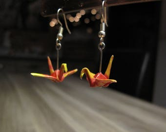Paper cranes origami earrings light yellow/rougeCadeaux Christmas gift Christmas