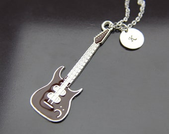 Music Gift Silver Guitar Charm Necklace  Silver Guitar Charm Personalized Necklace Initial Charm Initial Necklace Customized Jewelry
