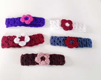 Crochet Baby Headband with flower, newborn crochet headband, white flower headband