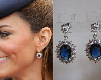 Kate Middleton Duchess Cambridge Inspired Replikate Sapphire Blue Oval Crystal Drop Earrings