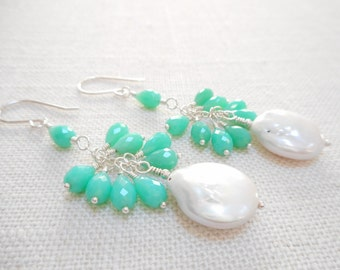Chrysoprase and Freshwater Pearl Cluster Earrings, Sterling Silver Genuine Gemstone Jewelry, Mint Green Stone Bead Wire Wrapped Earrings
