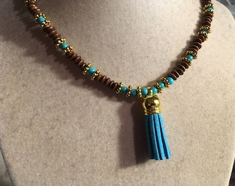 Turquoise and Brown Necklace - Wood Jewelry - Gold Jewellery - Tassel Pendant - Fashion - Boho