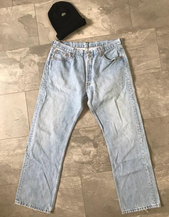 Levi's 501 jeans   high waist Levi's 501   light blue jeans   vintage Levi's, size W 36 L 32