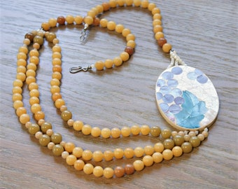 Beaded Necklace Vintage Jade ? Mother of Pearl Mosaic Pendant Asymmetric
