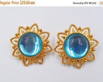 Vintage Trifari Gold & Teal Glass Sunburst Clip Earrings, Round, Big, Bold, Blue, Translucent, Runway, So Gorgeous! #b294