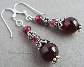Garnet Earrings, Bali Sterling Silver, January Birthstone, Jewelry for her, Wife, Girlfriend, Daughter, Handcrafted