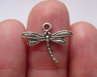 16 Dragonfly Charms Antique Silver - SC725
