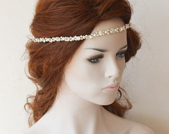 Hair Accessories, Pearl Headband, Bridal  Headpiece, Rhinestones, Wedding Accessories,  Hair Jewelry