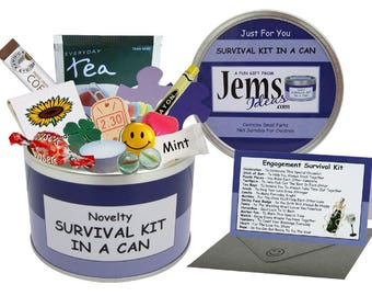 Engagement Survival Kit In A Can. Fun Congratulations Gift & Card For A Couple/Friend/Mate. OTHER COLOURS AVAILABLE.