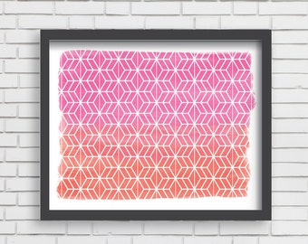 Geometric Watercolor Art Print Home Decor - Pink and Orange Watercolor Print - 5x7 or 8x10