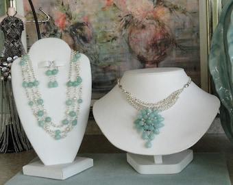 Amazonite chain beaded necklace  -  42
