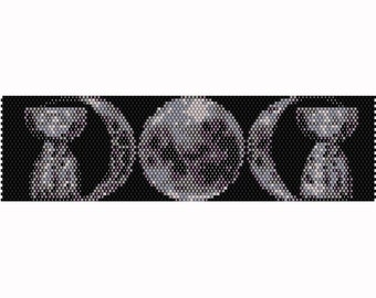 Triple Moon with Latte Stones Peyote Pattern, Bracelet, Bookmark Pattern, Seed Beading Pattern Delica Size 11 Beads - PDF Instant Download