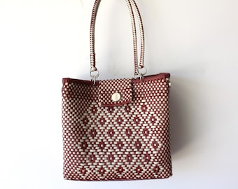 Burgundy & White Mexican woven plastic bag with long handles,  Mexican Tote, Oaxacan Mexico Woven Handbag, Ethnic Mexican Purse