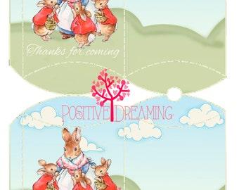 Peter Rabbit, Pillow Box Printable, Instant Download, Peter Rabbit Party, Favor Box, candy box, printable box, Peter Rabbit favor