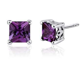 3.00 Carats Alexandrite Princess Cut Scroll Design Stud Earrings in Sterling Silver