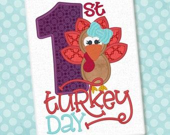 First Turkey Day Applique Design Thanksgiving Design Turkey Embroidery First Turkey Day Applique Embroidery Design Petunia Petal Design 1330