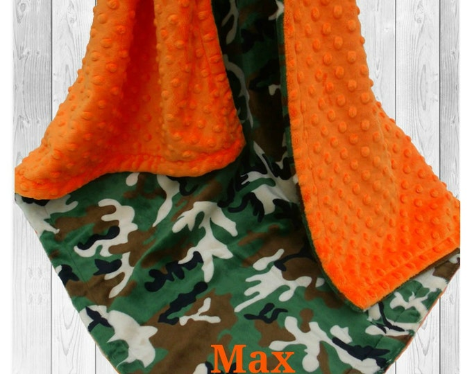 Orange and Green Camouflage Minky Dot Baby Blanket - Green and Brown Camo - available in three sizes