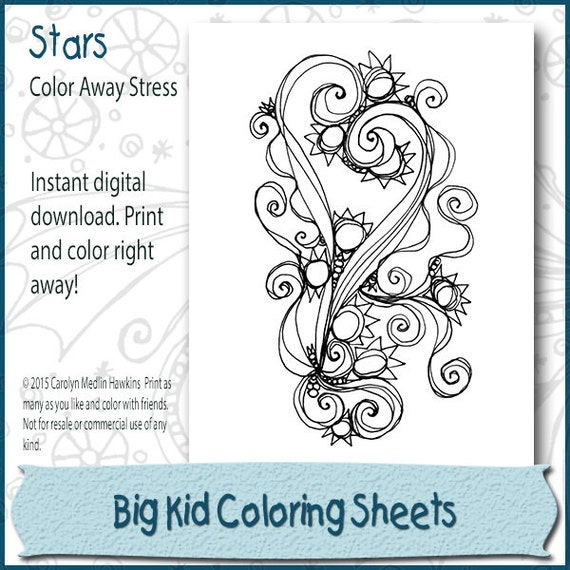 Stars Adult Coloring Book Page Instant Download
