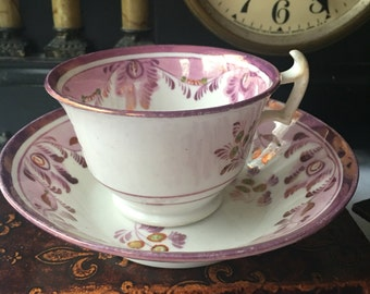 Antique  English  Pink Lustreware Teacup and Saucer 19th century  Copper  Lustre Teacup and Saucer
