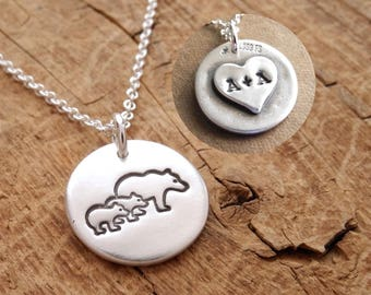 Personalized Small Mother and Twin Bear Cub Necklace, New Mom Necklace, Bear Monogram, Fine Silver, Sterling Silver Chain, Made To Order