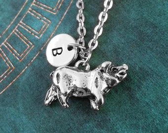 Pig Necklace Pig Jewelry Farm Animal Necklace Animal Jewelry Monogram Necklace Pig Charm Necklace Silver Initial Necklace Swine Necklace