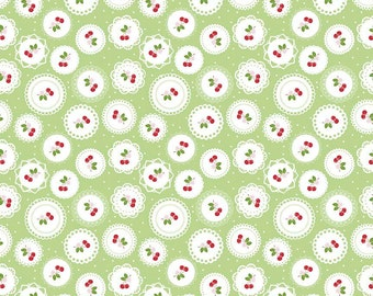 Sale - Green & Red Cherry Fabric, Sew Cherry 2, Riley Blake, Lori Holt, C5802 Doily Green, Bee in My Bonnet, Cherry Quilt Fabric, Cotton