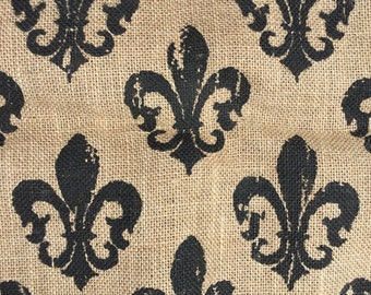 "One piece printed burlap | 57"" x 48"" |  La Fleur |  country French  | rustic farmhouse decor | photo background  | home decor"