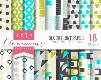 BLOCK PRINT digital paper pack, printable patterns for DIY craft & scrapbooking - instant download.