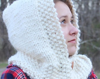 Button Hooded Cowl, Cowl Hood, Hooded Cowl, Adult Hooded Cowl, Chunky Knit Cowl, Cowl Hood Scarf, Knit Scoodie, Scoodie Cowl, Button Cowl