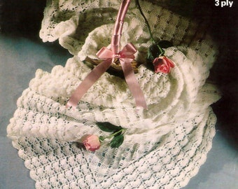 Vintage Pattern 1970's  Baby Crocheted Shawl PDF Download.