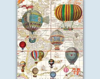 Hot Air Balloon Art Print, Mappamundi Decor, World Map Poster, Hot Air Balloons Decorations, World Map Education, Hot air Balloon Nursery,
