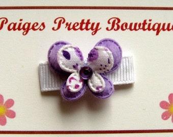 Itty Bitty Purple Butterfly Clip-Baby Hair Clip-Infant Hair Clip-Toddler Hair Clip-Snap Clip
