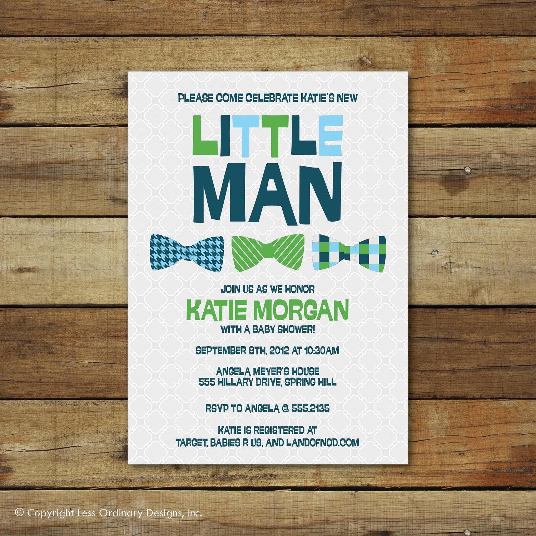 Little Man baby shower invitation Baby boy Shower invite