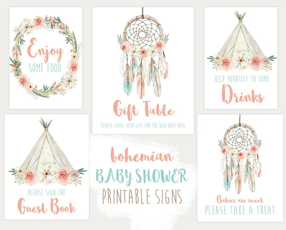 Baby Shower Signs Decorations Boho Dream Catcher Printable